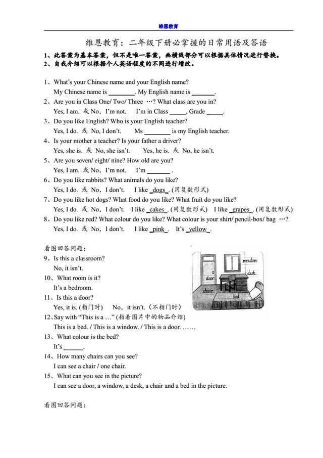 维恩教育:二年级英语下册应掌握的日常用语及答语(打印版)