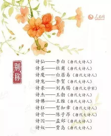 形容诗的词语,诗仙、诗圣、诗魔、诗鬼、诗佛……诗人的雅号别称,你知道多少?