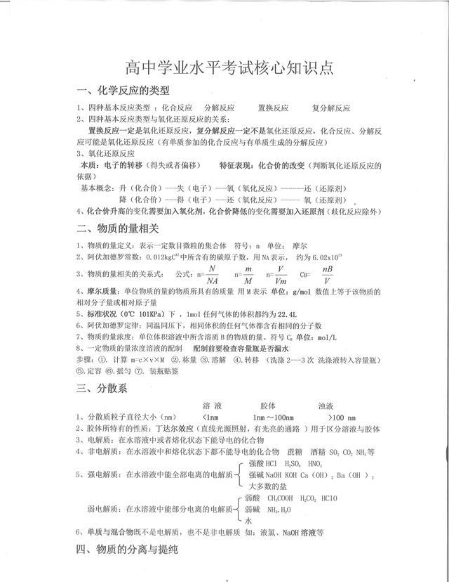 化学·学业水平考试核心知识点