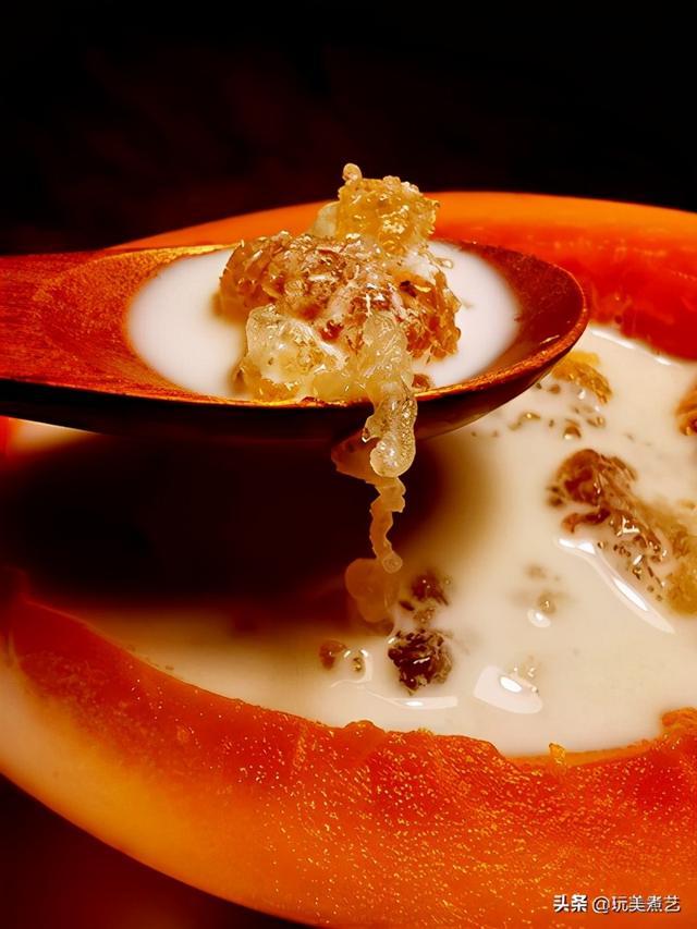 桃胶的做法,福寿绵绵,木瓜牛奶炖桃胶