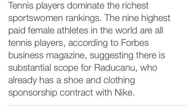 读BBC新闻学英语:拉杜卡努将成为英国收入最高女运动员 全球新闻风头榜 第4张