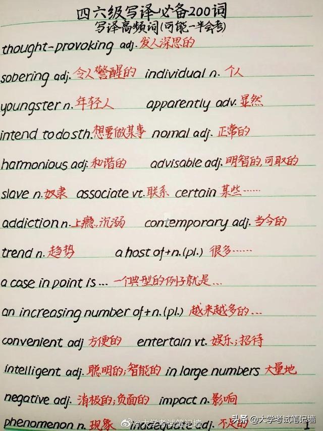 四六级写作和翻译常考的200个词汇