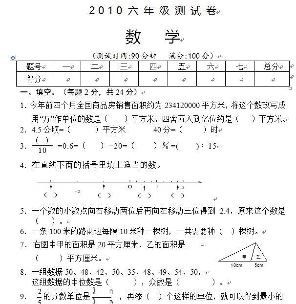 徐州市小学六年级数学毕业试卷(2010-2016)