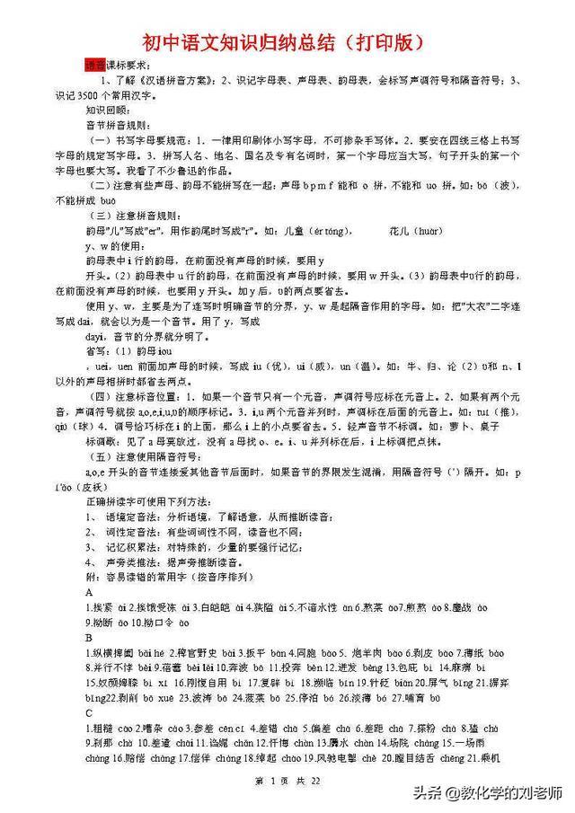 (超详超全)初中语文知识点归纳汇总,赶快收藏起来备用