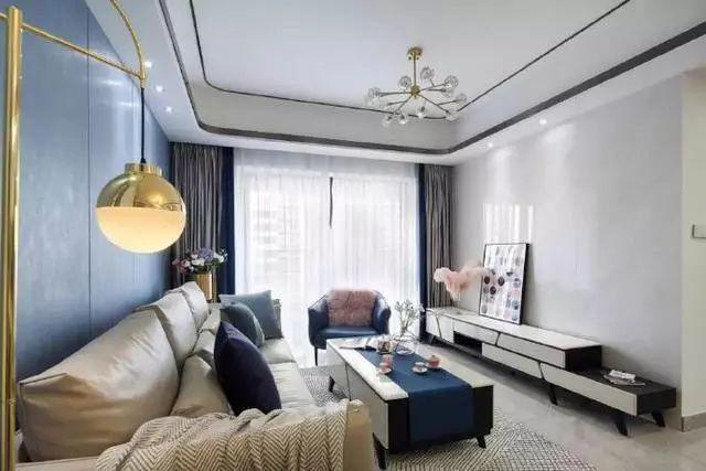 蓝色背景图片,120㎡轻奢现代风,客厅蓝色背景墙美出新境界