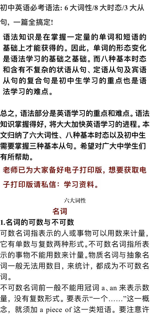 初中英语必考语法:6大词性/8大时态/3大从句,一篇全搞定