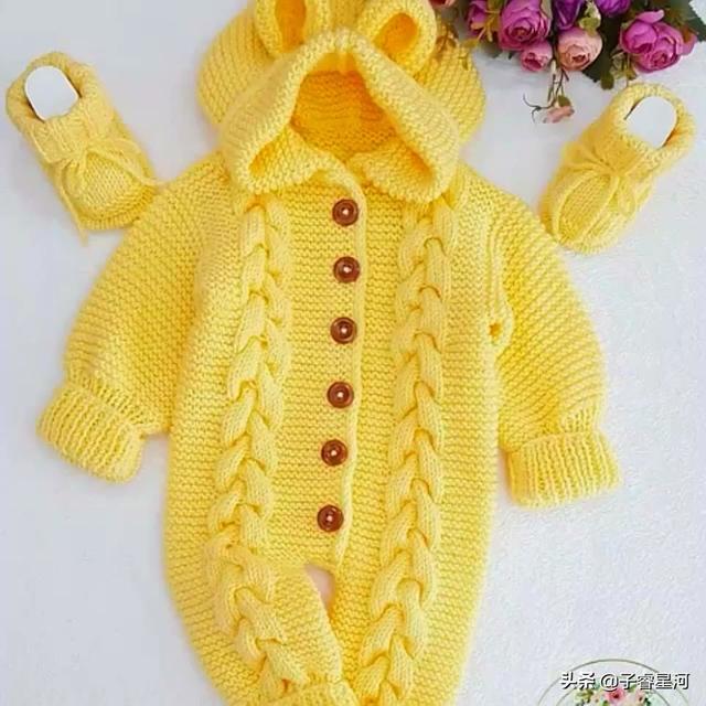 婴儿连身衣,分享一组温暖又实用的宝宝连体毛衣,喜欢的快来仿一件