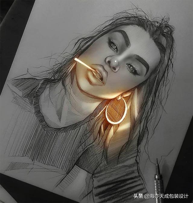 创意素描图片,素描丨梦幻~这些铅笔画能发光