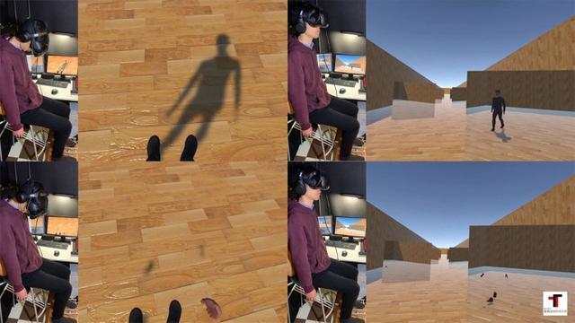 vr模拟,日本研究人员创造不用走路就可以刺激脚部的VR步行模拟器