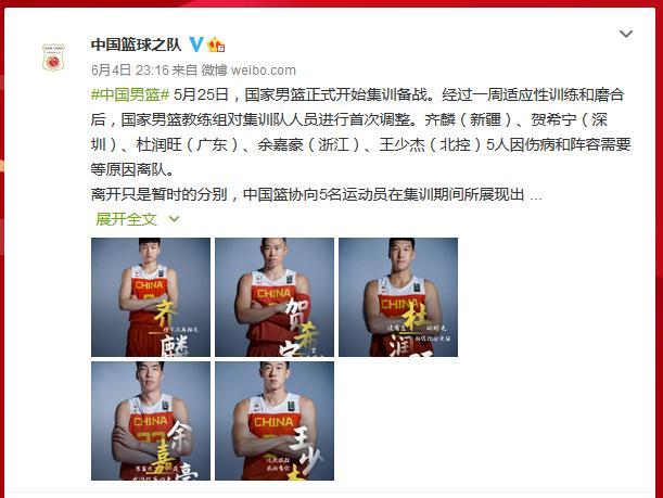 中国男篮集训队人员调整,王少杰等5人离队 全球新闻风头榜 第1张