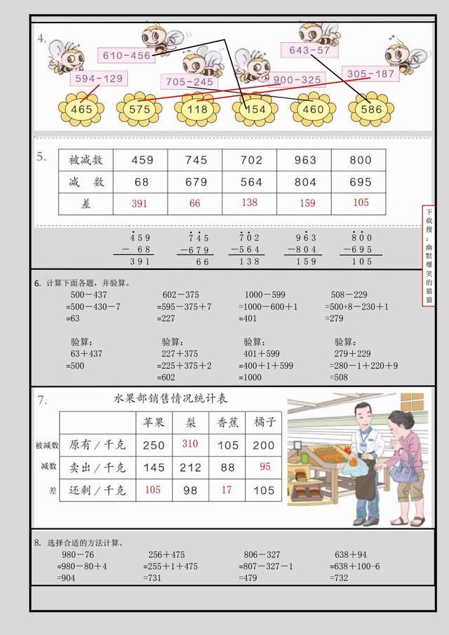 宝妈萌娃必备,三年级数学上册图文详解_单元4_加减法_2