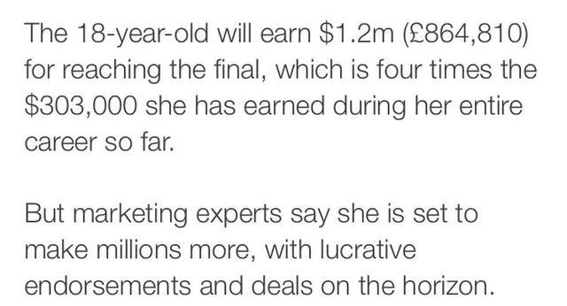 读BBC新闻学英语:拉杜卡努将成为英国收入最高女运动员 全球新闻风头榜 第3张