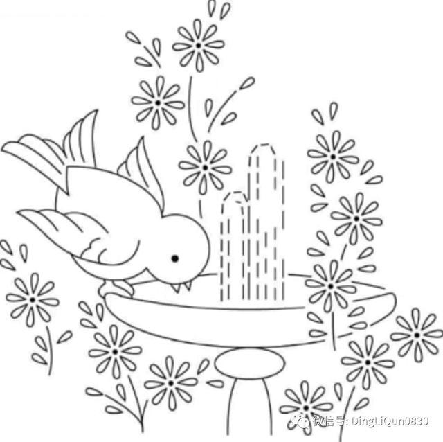 创意素描图片,「刺绣图纸」美丽的刺绣铅笔画图案创意