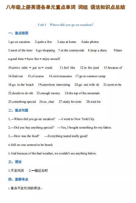 八年级上册英语各单元重点单词词组语法知识点总结