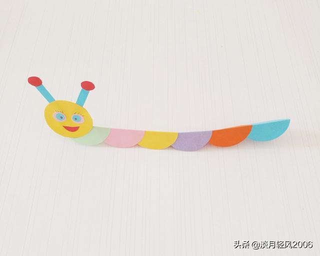 卡纸怎么做,简单幼儿手工,用彩色卡纸做一个卡通可爱毛毛虫,有教程