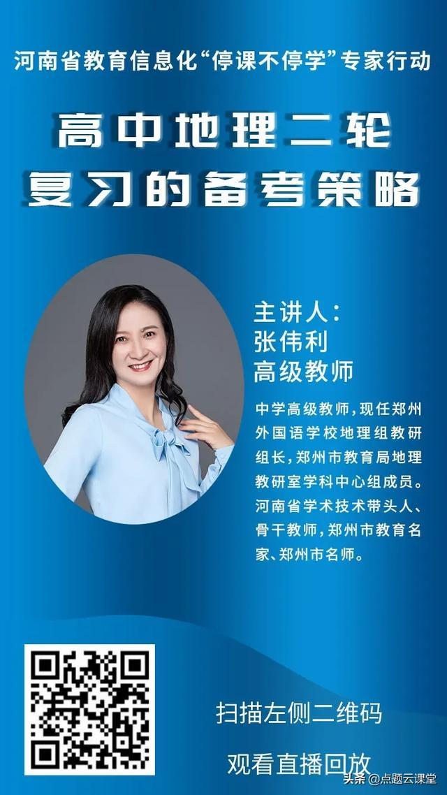 张伟利 高级教师 | 高中地理二轮复习的备考策略(视频+PPT)