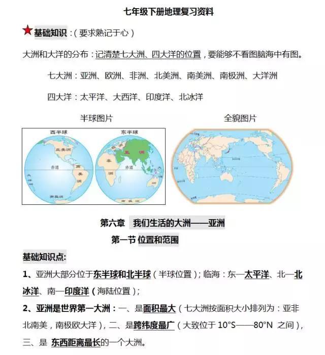 七年级下册地理知识汇总,提前为孩子收藏一学期的知识