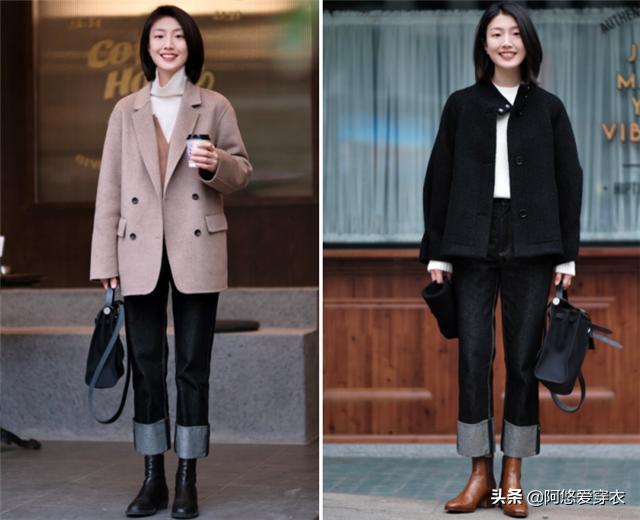 """身高仅158的女生,发起多穿""""九分裤+低跟靴"""",优化比例还特显高1549 作者:admin 帖子ID:23449"""