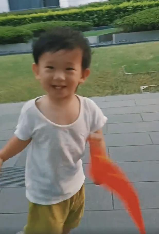 应采儿罕晒次子视频,HoHo举着红旗一路小跑,露小乳牙萌态尽显